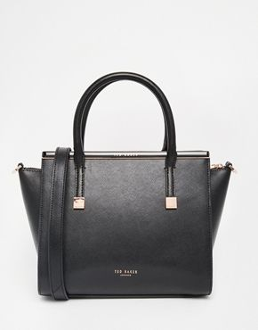 Ted Baker Leather Crosshatch Winged Tote Bag With Metal Bar Detail