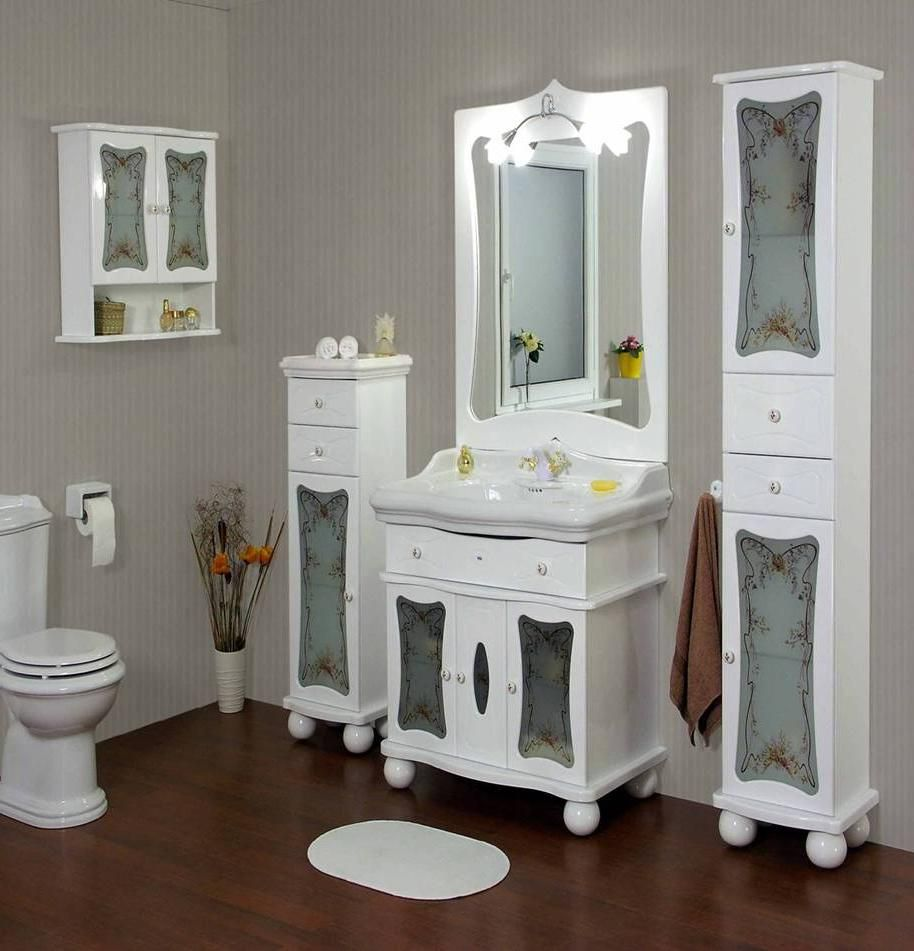 Picture Collection Website Gorgeous Pretty Bathroom Set Design With White Vanity Sink And Cabinet Storage Including Small Rug On Dark Wooden Floor And Gray Striped Painting Wall