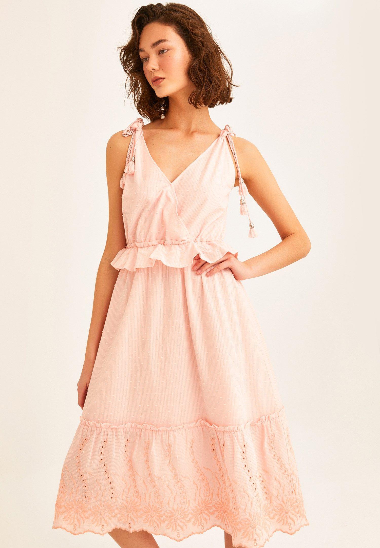 Pembe Kruvaze Yaka Detayli Midi Boy Elbise Online Alisveris 20yox Pamrodel Oxxo 2020 Elbise The Dress Midi Elbise