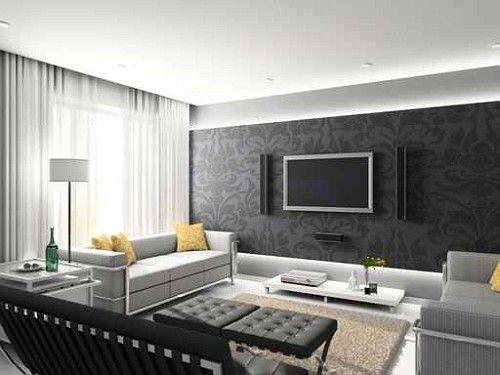 20 salones comedores modernos decorados con papel pintado for Carta da parati per soggiorno moderno