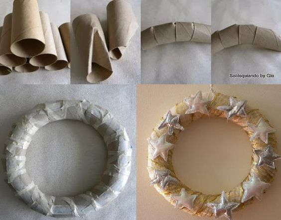 Having trouble finding a (cheap) wreath...DIY Wreath form; made with toilet paper rolls. #toiletpaperrolldecor