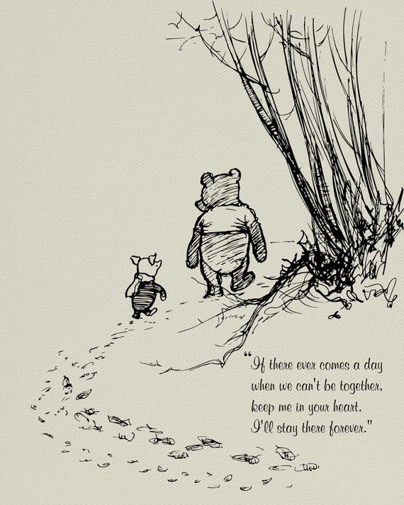 Winnie the Pooh Quotes, pooh bear classic vintage style poster print - If there ever comes a day