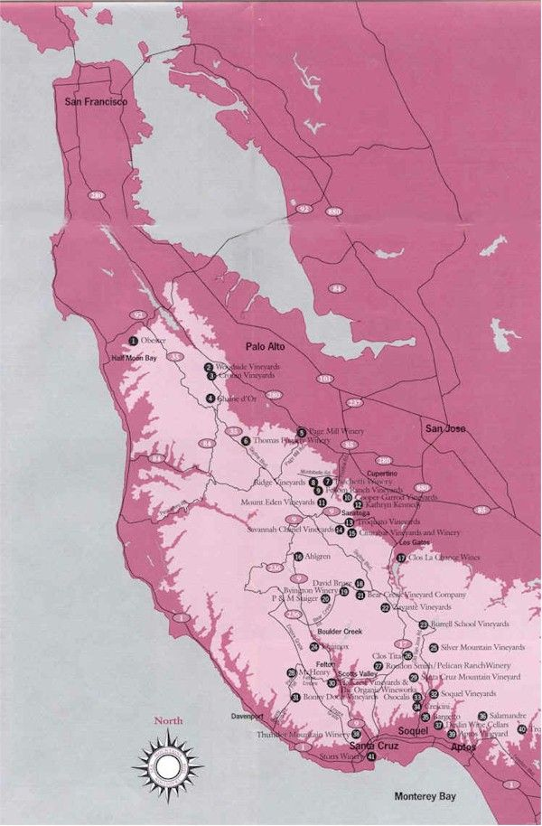 Santa Cruz California Map.Santa Cruz Mountains Winery List Pink Art Santa Cruz Mountains