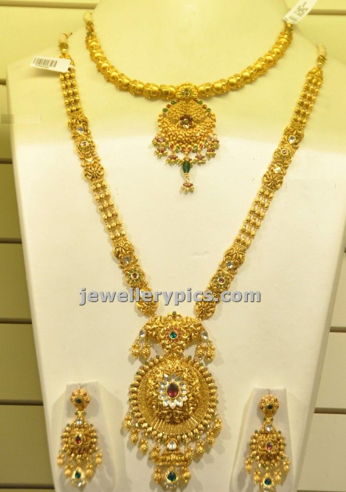 Check Malabar Gold Jewellery Gold Haram And Necklace Bridal Set Latest Design As Part Of Their Gold Jewelry Fashion Gold Necklace Designs Modern Gold Jewelry