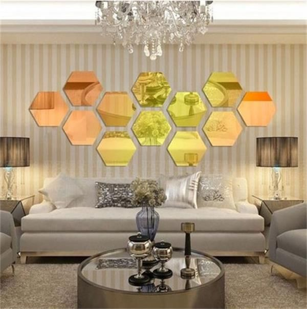 Modern Style Acrylic Large 20cm hexagon mirrors 3D Wall Sticker ...
