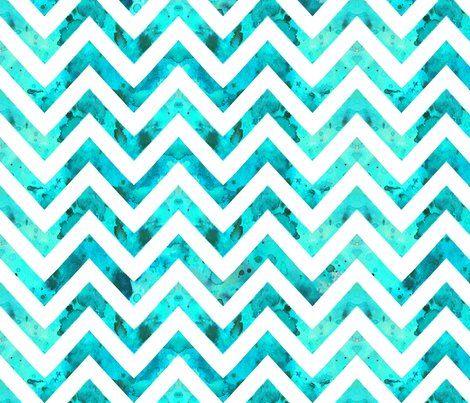 Watercolor Chevron Aqua White Geometric Pattern