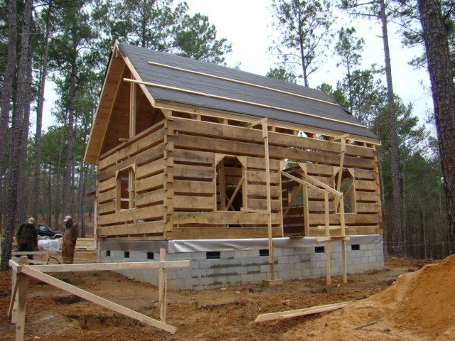 Construction Of Dovetail Cabin Kit In The Mountains On Site