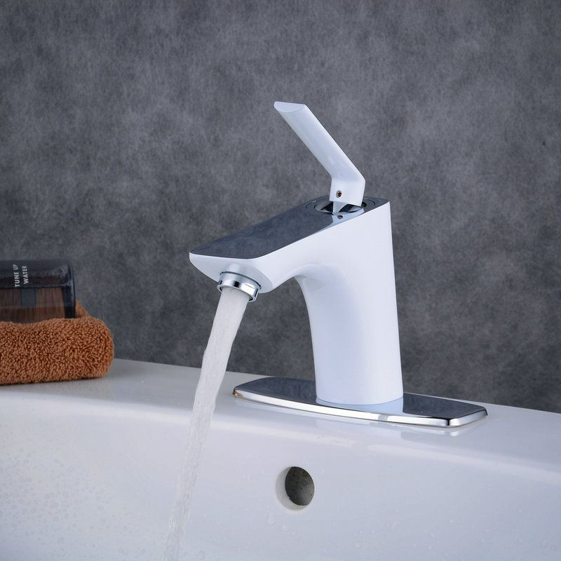 Contemporary Sink Faucet Stoving Varnish White Sink Faucet Single