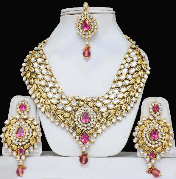 Wedding Kundan Costume Jewellery Set Heavily Embellished