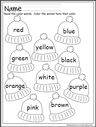Free winter hats coloring activity that provides practice with color ...