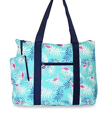 Ever Moda Large Canvas Tote Bag, Flamingo Print (Teal Blue)     cc68e36f6e
