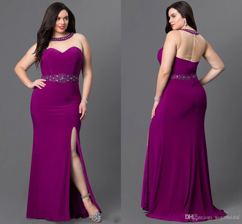 Purple Splits Long Prom Evening Dresses Plus Size Crew Neck With