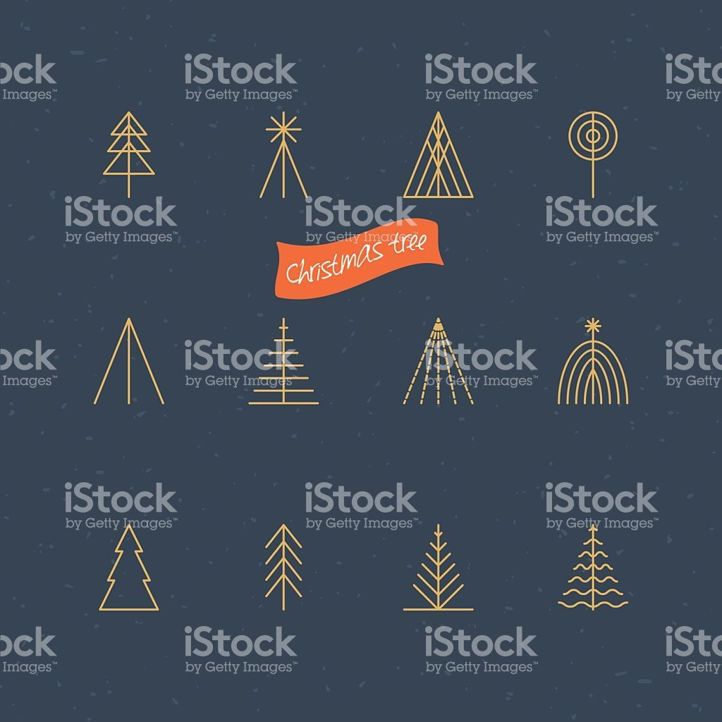 Christmas tree thin line icons for design royalty-free stock vector art