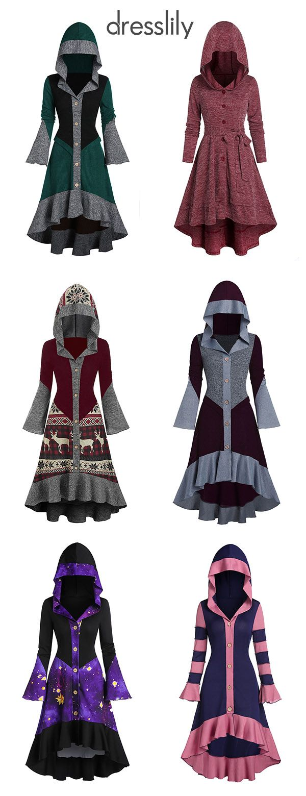 Women's Cardigans Hooded High Low Coats Fall Outfits