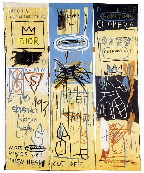 work on paper by Jean Michel Basquiat-started on subways as SAMO in 70s