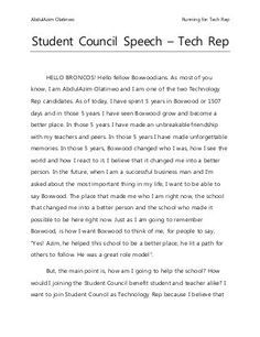 Student Council Speech  Projects To Try    Student