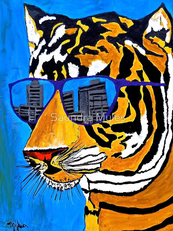 Cool Tiger In Sun Shades Saundramylesart