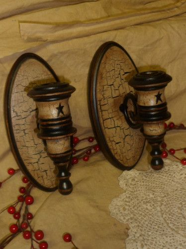 Primitive wood candle holders wall sconce tan crackle star farm country decor ebay