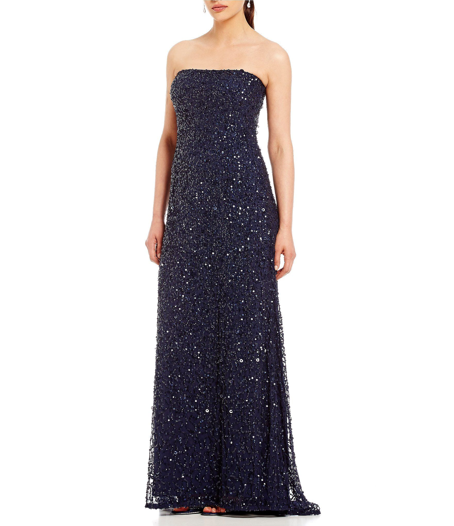 Adrianna Papell Strapless Beaded Gown | Adrianna papell, Dillards ...