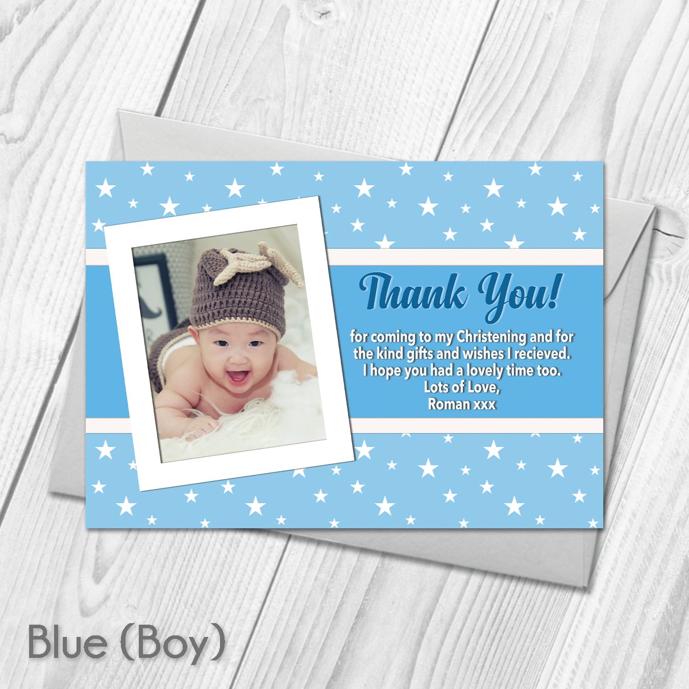 Personalised Star Baptism Thank You Cards For Boy Or Girl With Photo