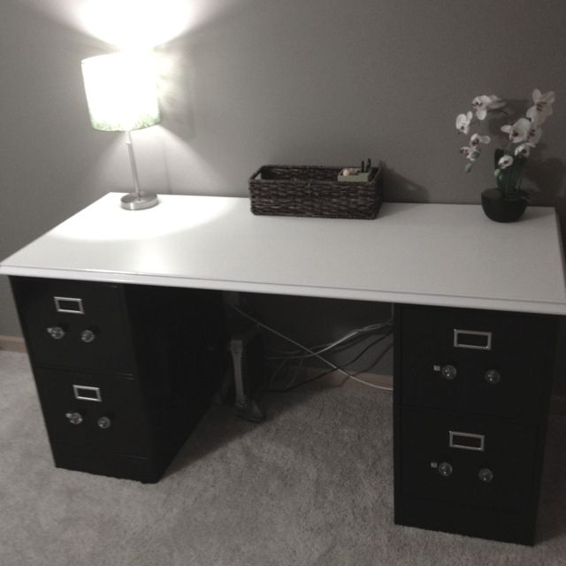 A Desk Made Out Of Craigslist File Cabinets Given A Quick Coat Of Spray  Paint And