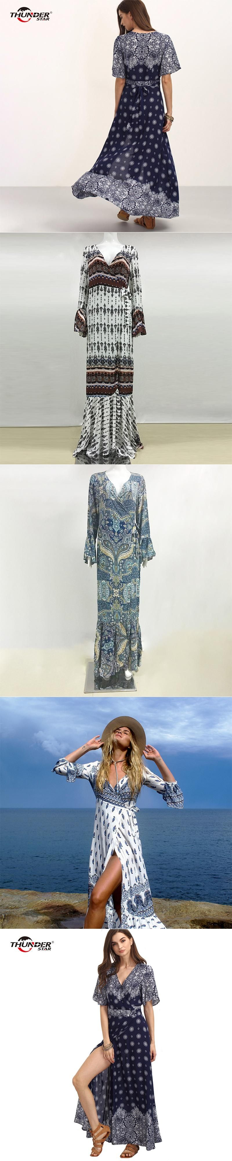 5887d202c01 2017 Boho floral print chiffon split long dress Women beach summer v neck  kimono sexy dress Elegant sash wrap maxi dresses LX5