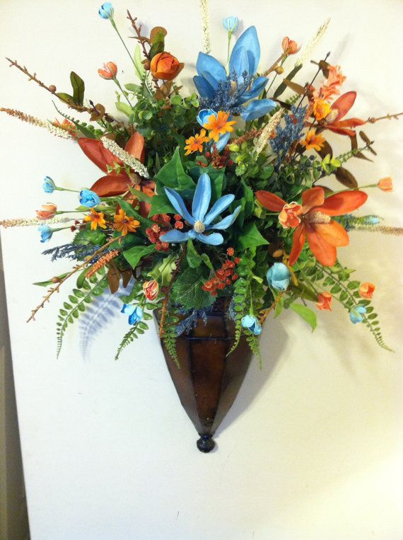 Wall Sconce Brown Metal Blue Coral Green Floral ... on Silk Flower Wall Sconces Arrangements id=70523