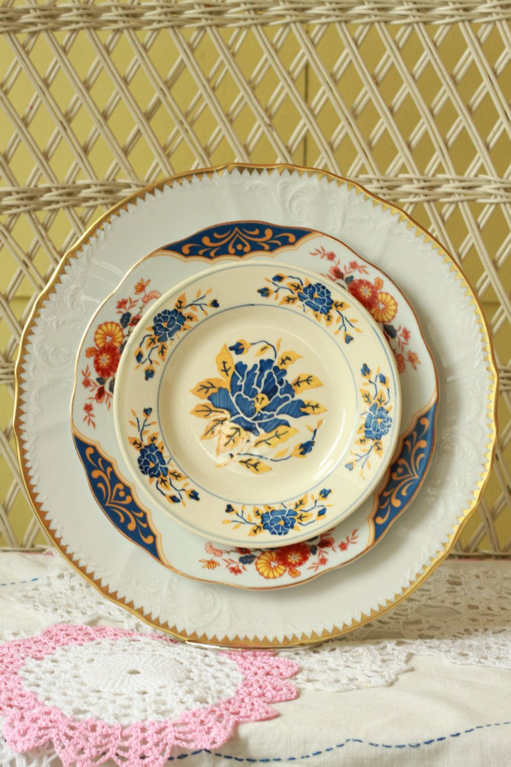 Mismatched Dishes, Dinnerware, Eclectic Dishes, French Garden. $54.99, Via  Etsy.
