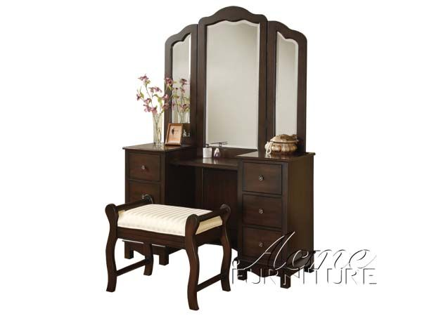 espresso makeup vanity set. Annapolis Cherry Wood makeup Vanity desk Set with Bench chair mirror by  Metro Furniture 3 Pc 06552 By Acme furniture