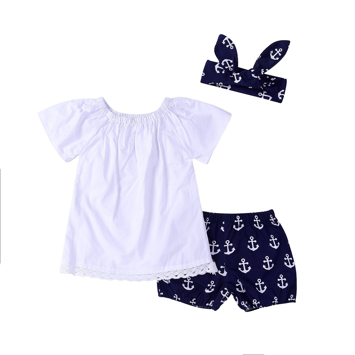 254da6608bef 3Pcs Baby Girls Short Sleeve Lace Tops Anchor Pants with Headband ...