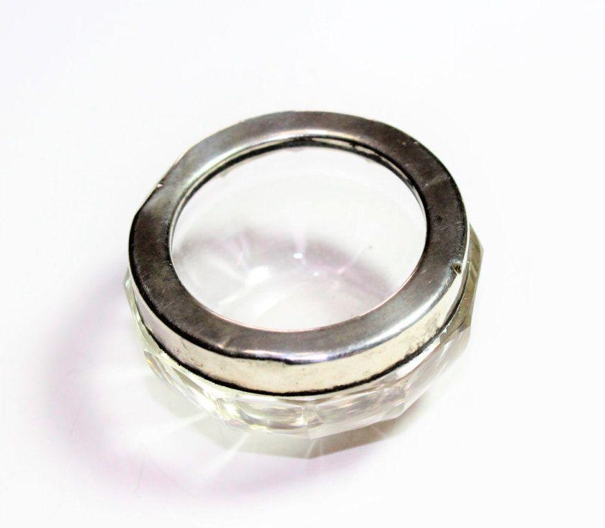 Silver Rimmed Glass Small Salt Jar Salt Cellar (Hallmarked Birmingham 1929) by GillardAndMay on Etsy