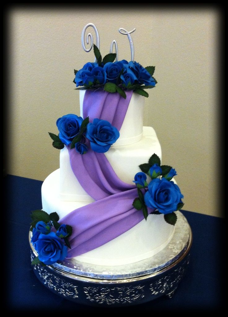 Purple And Blue Wedding Cakes Purple Swag With Blue Sugar Roses