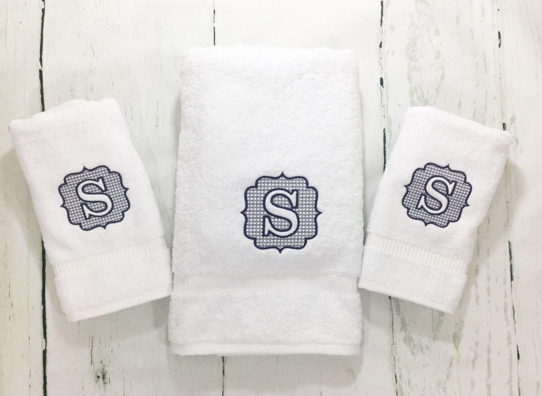 Monogrammed Hand Towel Monogrammed Bath Towels Embroidered Bath Towels Monogrammed Towels Classic Bedroom Decor Craftsman Home Interiors Funky Home Decor