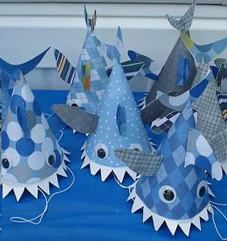 Shark Hat Craft. Can be passed out for people who need an easy costume idea. Tell them to wear blue or grey.