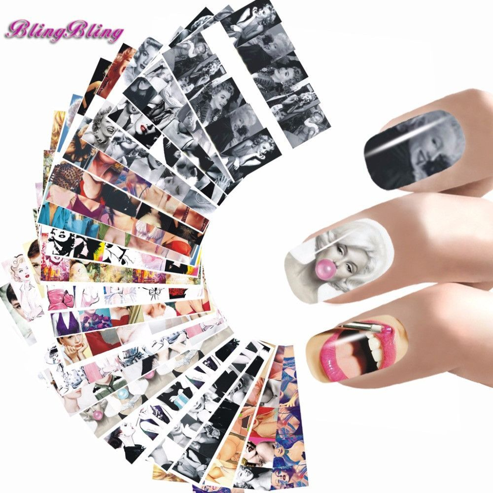Stickers decals nail stickers nail art decals fashion - 24 Styles Nail Sticker Marilyn Monroe Nail Art Water Decals Audrey Hepburnl Design Nail Wraps Transfer Foil Nails Decorations