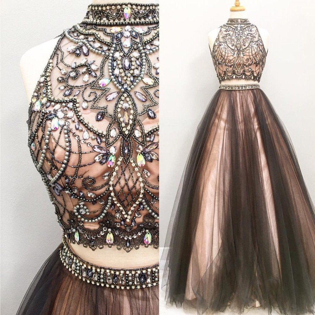 Two pieces rhinestone black tulle gorgeous long prom dresses