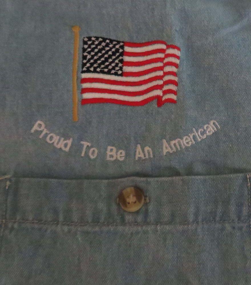 Men S Proud To Be American L S Denim Shirt Sz L Flag Usa Patriotic Pride America Usa Patriotic Denim Shirt Patriotic