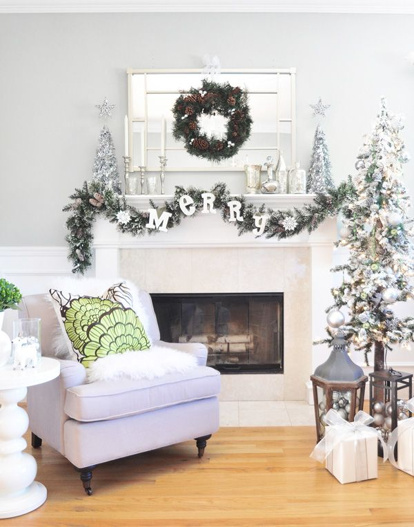 Silver and white Christmas mantel by Centsational Girl! | From The ...