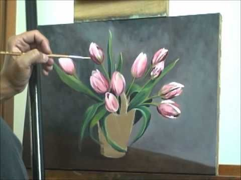 Pintura De Tulipas Passo 8 Painting Videos In 2019