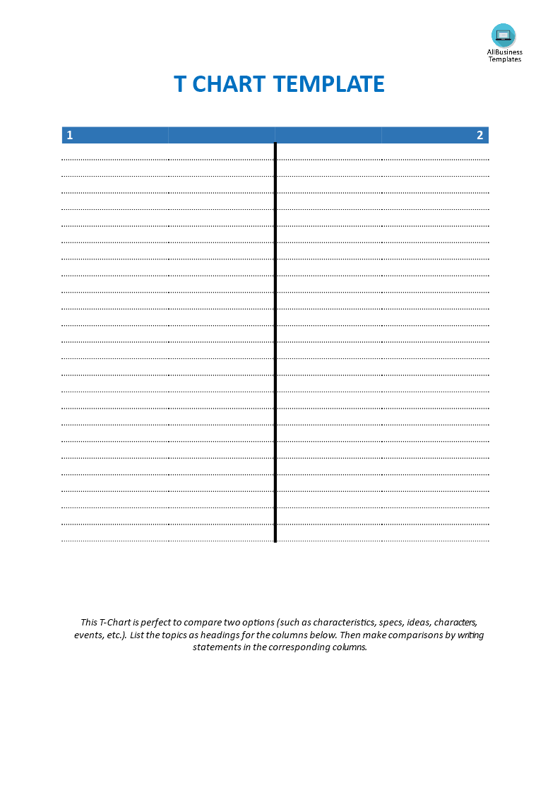 Blank T Chart Template  Do You Need A Blank TChart Template In