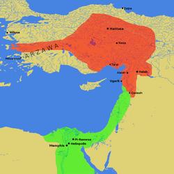 赤:ヒッタイト帝国の最大勢力圏 緑:古代エジプトの勢力圏 | 古代 ...