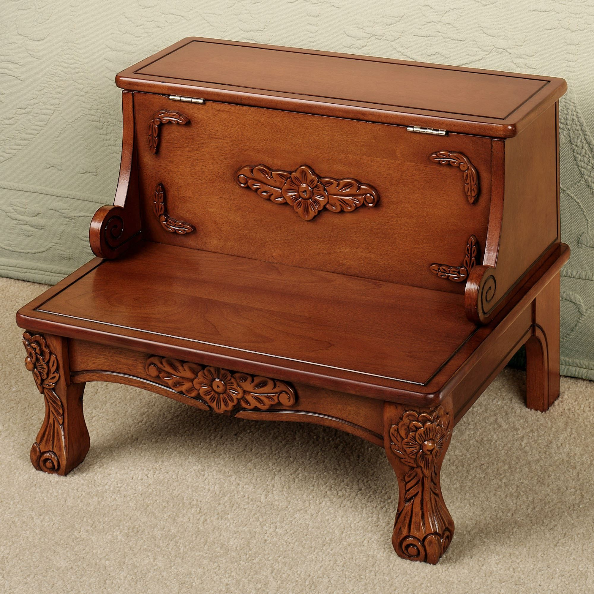 Victoriana Wooden Bed Steps With Storage Bed Steps Wooden Bed Bed Stool Bed step stools for high beds
