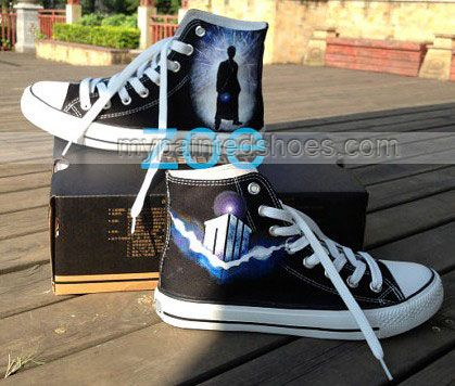 b4492d1b533d Doctor Who Shoes Doctor Who High Top Hand Painted Shoes Custom S ...