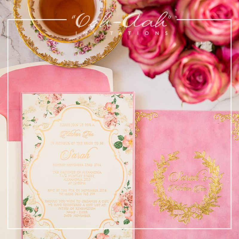 Suede Kitchen Tea Hard Cover Wedding Invitations Sydney Designed By Ooh Aah