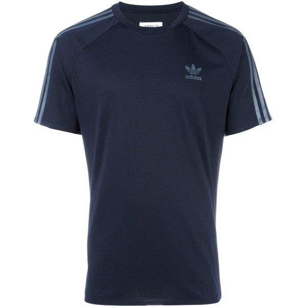 Adidas Originals 'ADC Deluxe' T-shirt ($39) ❤ liked on Polyvore featuring men's fashion, men's clothing, men's shirts, men's t-shirts, blue, mens leopard print t shirt, mens blue shirt, mens raglan shirts, mens crew neck t shirts and mens raglan t shirt