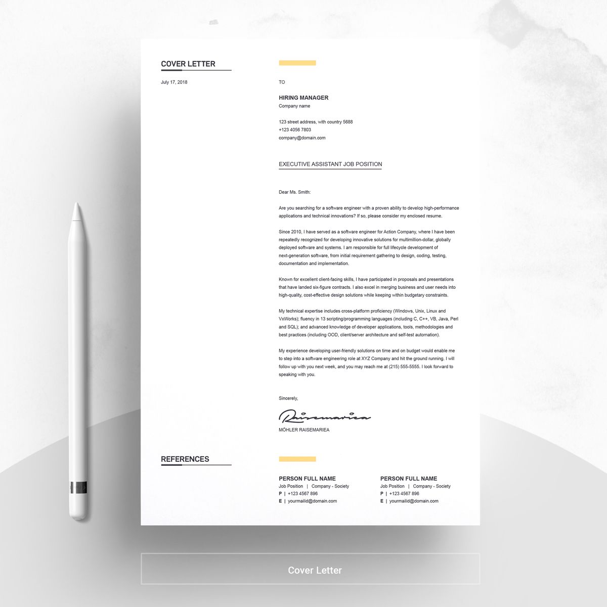 Clean creative resume template 74564 with images