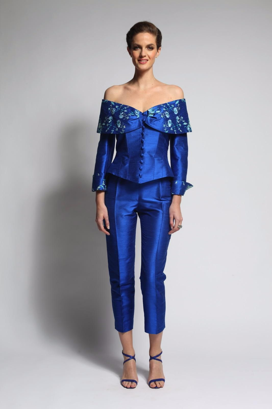 Ensemble de mariage bleu Tailleur pantalon