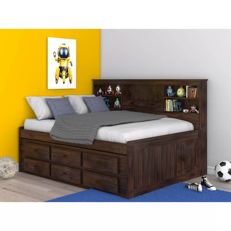Marea Full Daybed With Bookcase And Drawers Loft Bed Frame Full