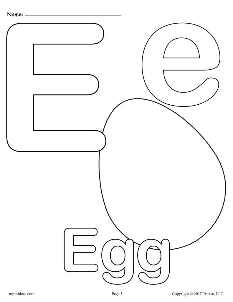 Letter E Alphabet Coloring Pages 3 Printable Versions Alphabet