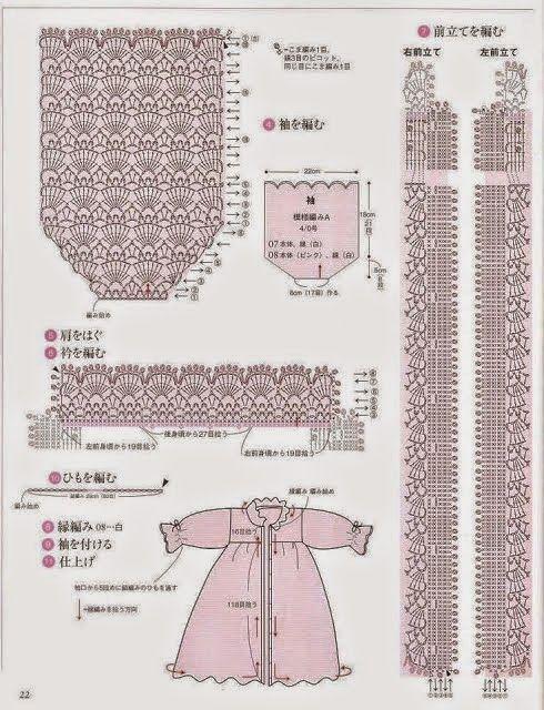 Patrones y moldes de vestido al crochet para niña | chale co rojo ...